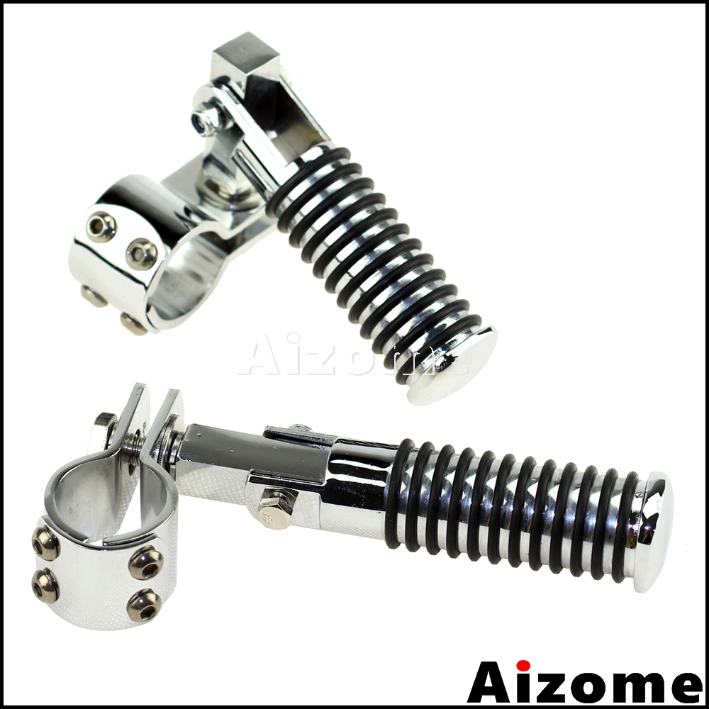 """Motorcycle Retro Footpegs Highway Footrests 1-1/4"""" Clamp On O Ring Foot Pegs Rests For Harley Cafe Racer Chopper Bobber"""