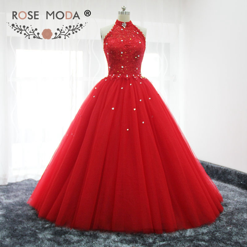 Rose moda red halter puffy prom dress bling kristall formale party dress lace up zurück real bilder