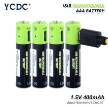 4pcs 1.5 V volt AAA lithium li-ion battery Rechargable Micro USB polymer lipo cells batteires + Cable Charger