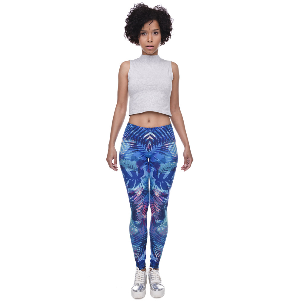 Zohra New Fashion Women Leggings Tropical Leaves Printing Blue Fitness Legging Sexy Silm Legins High Waist Stretch Trouser Pants 13