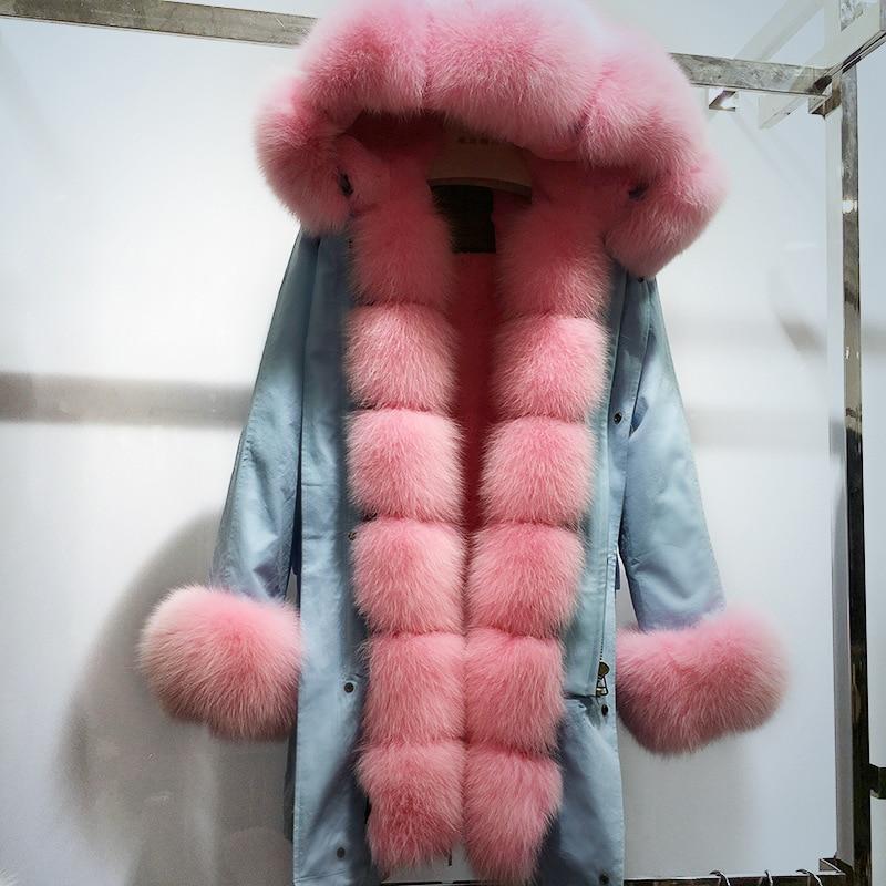 New fox fur parka coat women Rabbit fur lined parkas black winter thick real fur long coat warm female outerwear