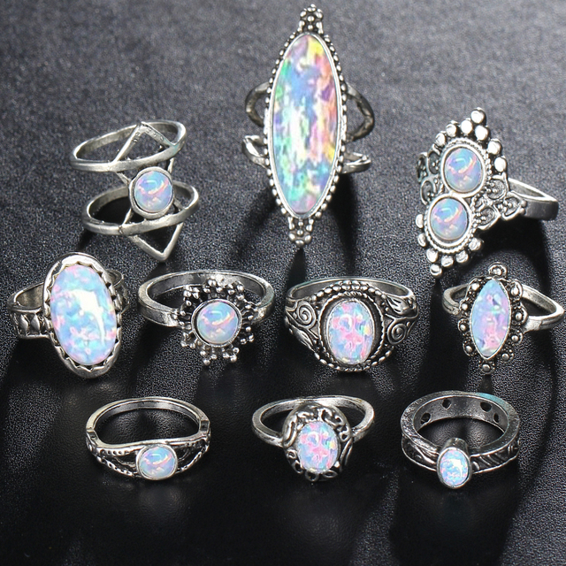 17KM Bohemian Opal Stone Rings Set Women's Antique Silver Color Geometric Finger MIDI Knuckle Ring Set Jewelry 10PC/Set 2018 New
