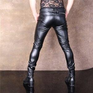 Image 3 - Fashion New Design Cool Men Elastic Faux PU Leather Pants Double Zipper Slim Long Trousers Black Male Streetwear Club Outfit