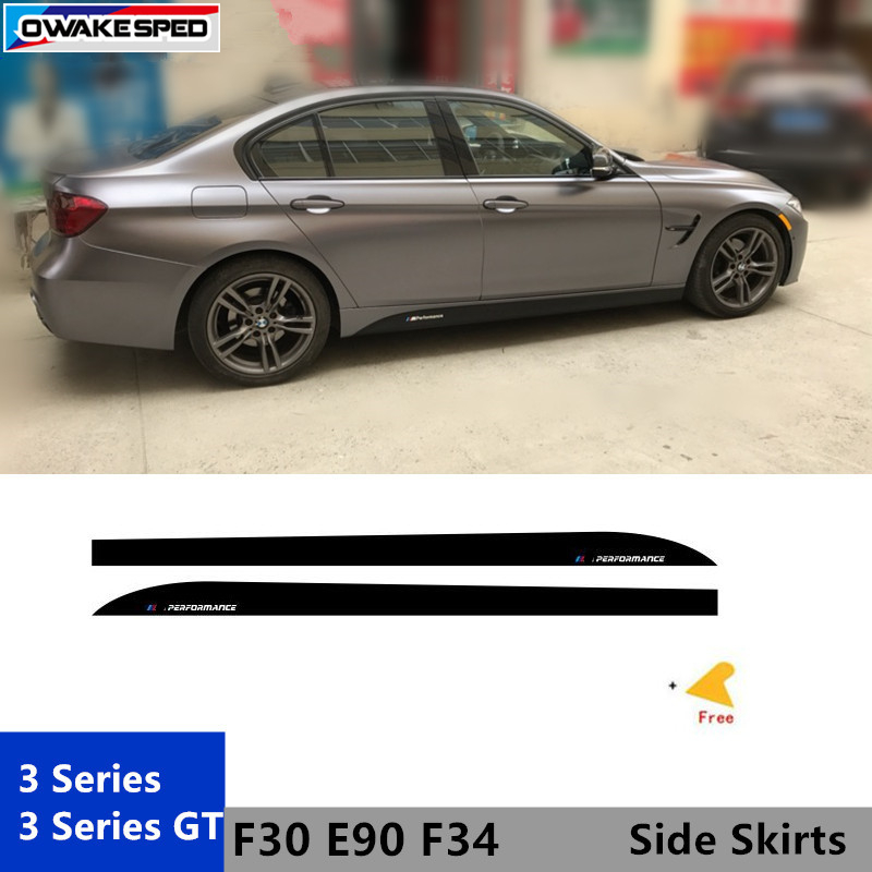 ///Performance X2 Door Side Skirts KK Decal Car Body Carbon Fiber Sticker M Sport Styling For <font><b>BMW</b></font> <font><b>3</b></font> <font><b>series</b></font> <font><b>GT</b></font> F34 F30 image