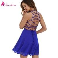 Berydress Sexy Women Summer Dress Cross Lace Up Backless Spaghetti Strap Short Skater Dress Chiffon A
