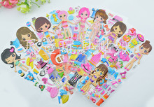 Stereo DIY dress up cartoon stickers children hands-on educational toys Princess girl changing clothes pictures
