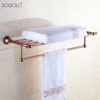 Xogolo Luxury Bath Towel Rack Holder Double Layer Towel Bar Wall Mounted Bathroom Hardware Organizer 4088