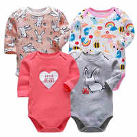 4Pcs/set baby rompers Cotton roupas menino newborn girl clothes Long Sleeve Overalls Jumpsuit infantis Clothing sets