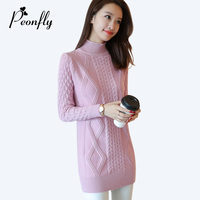 PEONFLY 2017 Autumn Winter Thick Warm Knitted Long Sweater Dress Women Half Turtleneck Sweater Women Pullovers