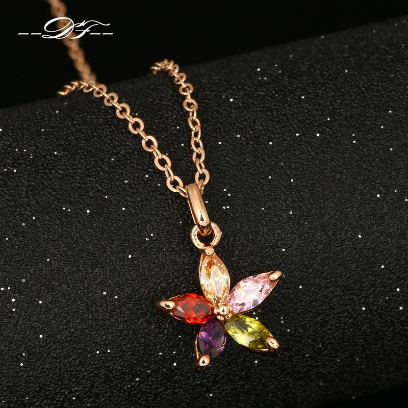 DFN245 Unique Flower Rhinestone Rose Gold Pated Necklaces & pendants Jewelry For Women Crystal Chains colares Wholesale