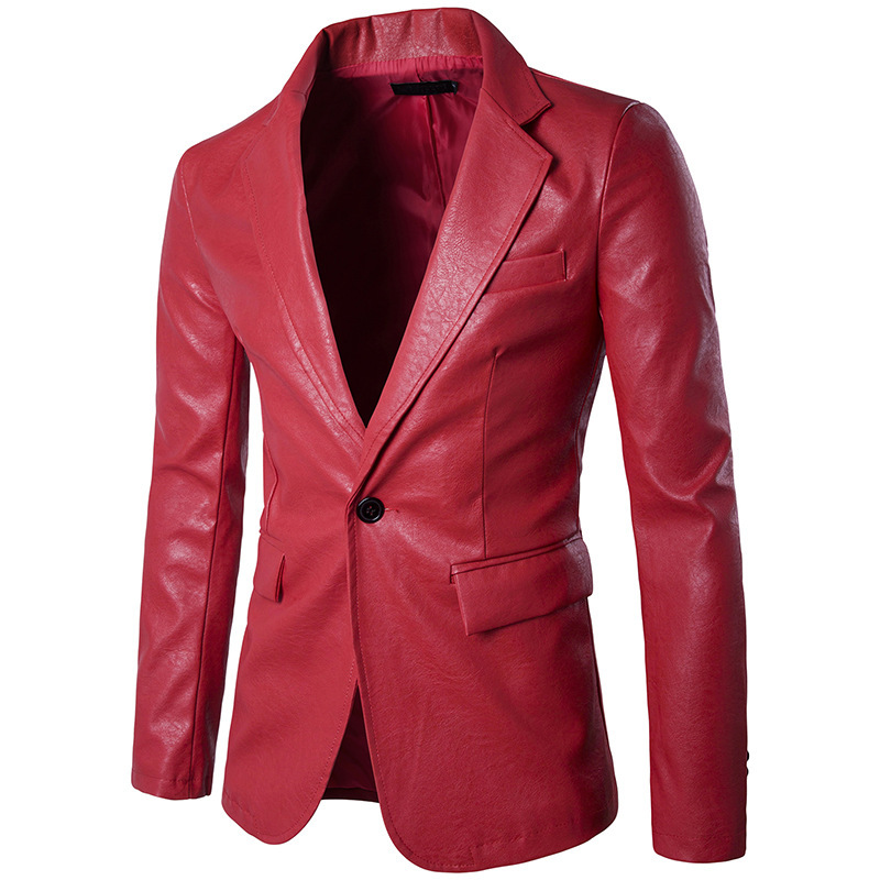 Fashionable Pure Color Wholesale PU Leather Men's Single One-button European Size Blazers Dropshipping Dance Wedding Top Coat