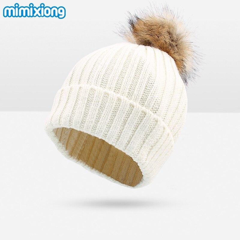 Newborn Baby Knitting Fur Ball Bonnet Caps White Warm Infant Girls Boys Hat Beanies Autumn Casual Outerwear Toddler Kids 0-24M