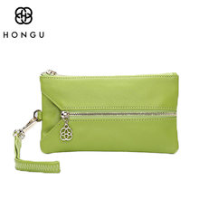 HONGU Luxury 100% Genuine Leather Ladies bags Car Key Wallet Coin Purse For Women Card Bags Mini Top-Handle Pocket Zipper Wallet(China)