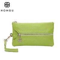 HONGU Luxury 100% Genuine Leather Ladies bags Car Key Wallet Coin Purse For Women Card Bags Mini Top Handle Pocket Zipper Wallet