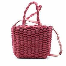 Thick Cotton Rope Straw Bag Women Fashion Woven Handbag Solid Color Female Square Shoulder Beach Bags bolsa feminina A4