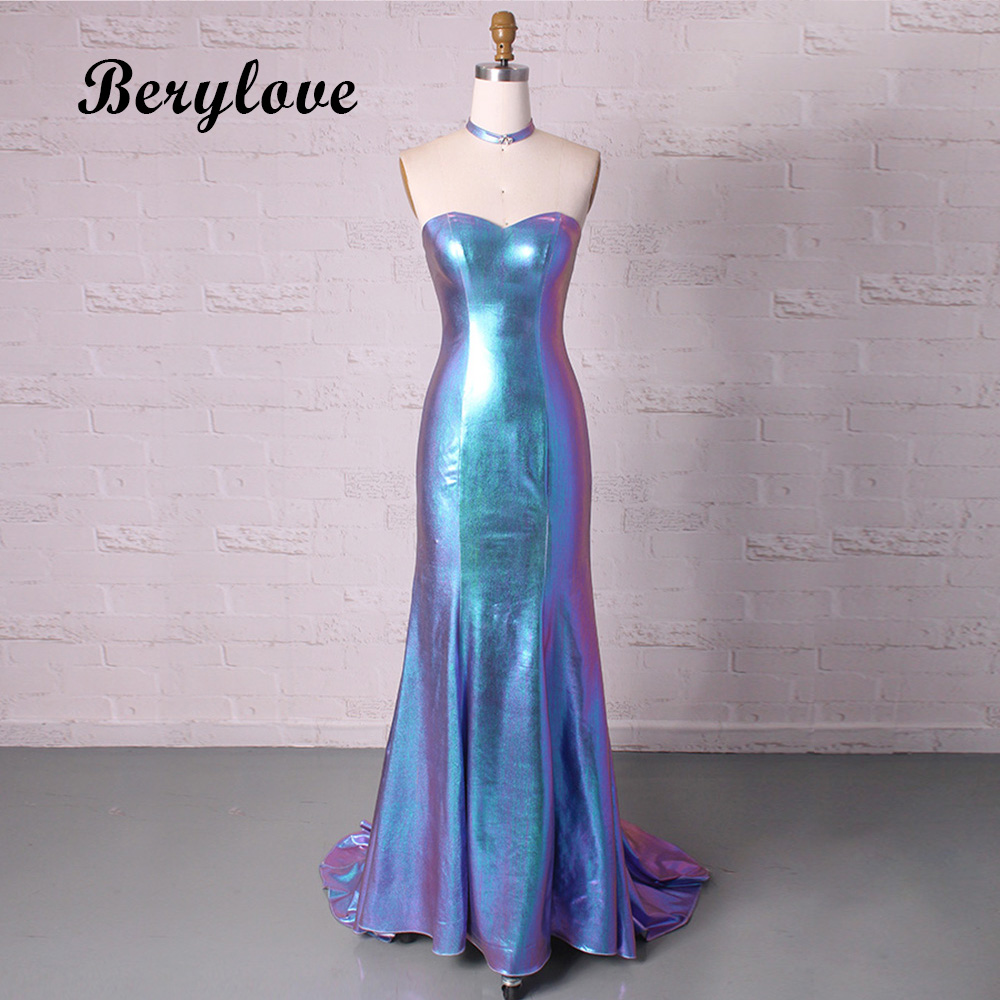 Unique Blue Mermaid   Evening     Dresses   2018 Long Strapless   Evening   Gowns Style Women Formal   Evening     Dress   vestido de formatura