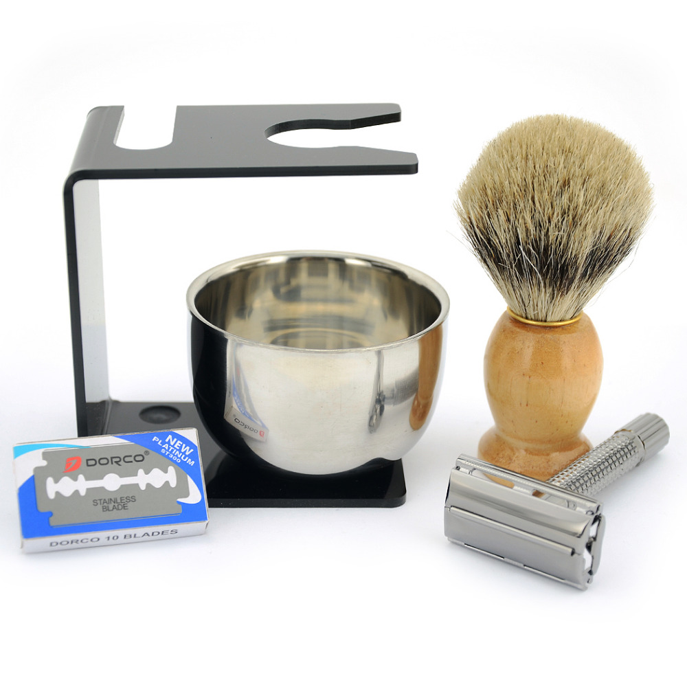 ZY Men Double Edge Butterfly Shaving Safety Razor Knife + Pure Badger Beard Brush + Stand Holder + Bowl Free 10 Blades Set Kits hsp flying fish 2 1 16 4wd 94163 16376 page 6