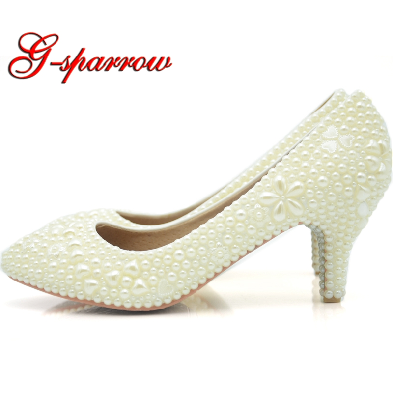 Ivory Pearl Med Heel Wedding Shoes Fashion Handmade Pointed Toe Bridal Dress Shoes Matching Wedding Dress Kitten Heel Shoes виниловые обои grandeco ideco persian chic pc 2702