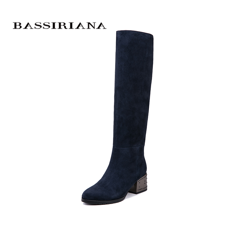 BASSIRIANA New Winter Genuine Leather High Boots High Heels Shoes Woman Black Blue Suede Black Leather Zipper 35-40 Size