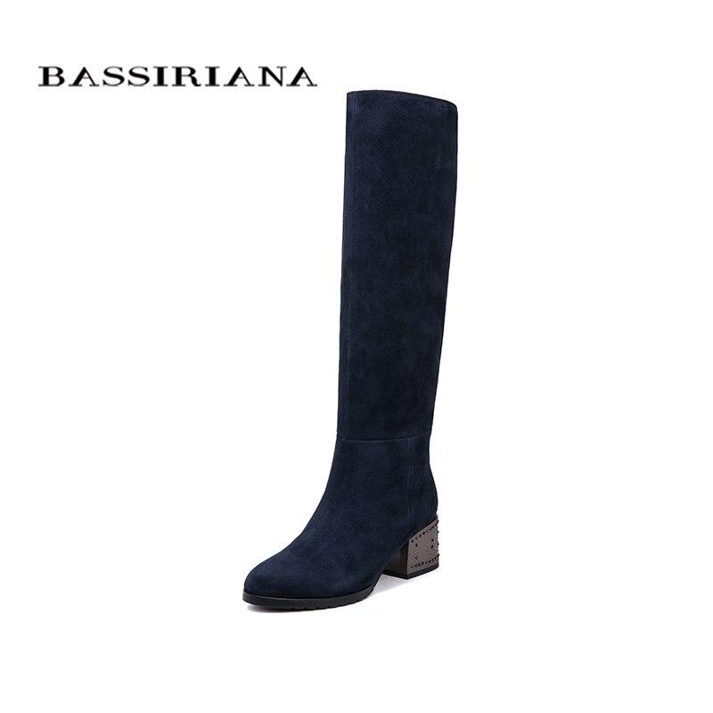BASSIRIANA nuevo invierno de cuero genuino botas de tacón alto zapatos de mujer Zapatos negro de gamuza azul cuero negro cremallera 35-40 tamaño