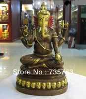 Xiuli 00340 8.5 Nepal 100% de Bronce 24 K Oro Ganesh Señor Dios Ganesha Elefante Estatua de Buda
