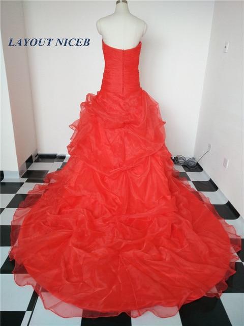 2018 beste Verkauf Romantische Rote Brautkleid Geraffte Liebsten ...
