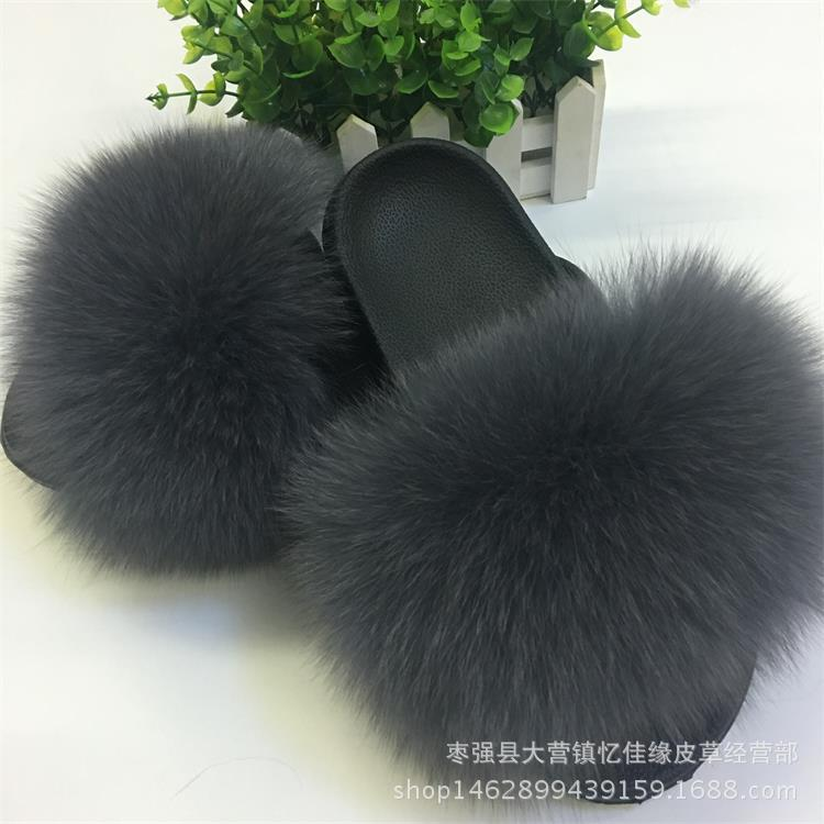 Image 2 - Winter Women's Indoor Fluffy Soft Fox Fur Pompoms Slippers Furry Real Fur Home Sliders Plush Flats Ladies Casual Shoes Zapato-in Shoes from Novelty & Special Use