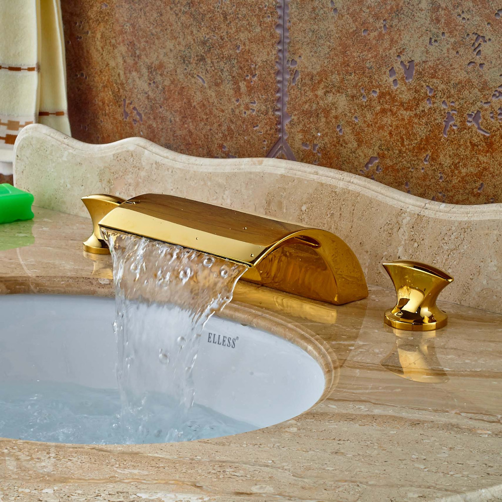 Gold Brass Waterfall Spout  Bathroom Basin Faucet Dual Handles Vanity Mixer Tap gold color brass dual handles kitchen sink mixer tap bathroom basin mixer tap swivel spout wsf094