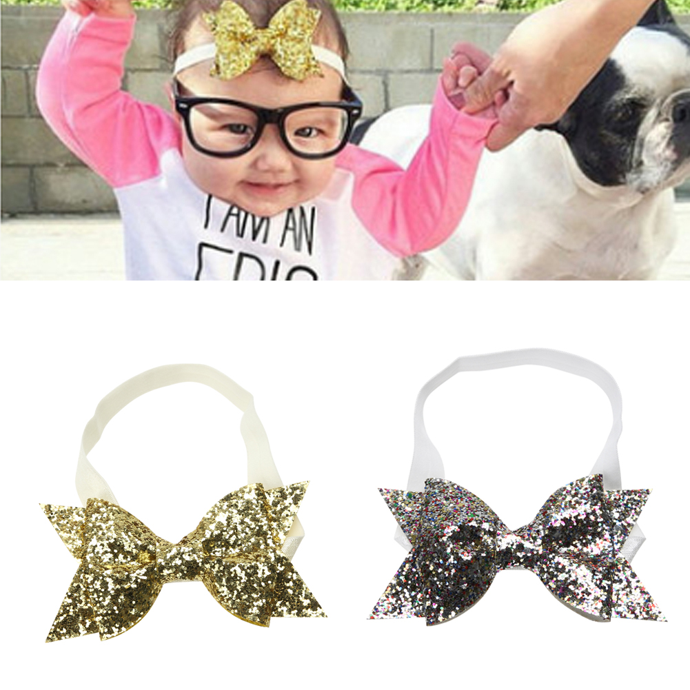 1 Pc Kids Baby Girls Princess Glitter Sequins Bowknot Hairband Soft Stretchable Headband Newborns Baby   Headwear   Gold Silver
