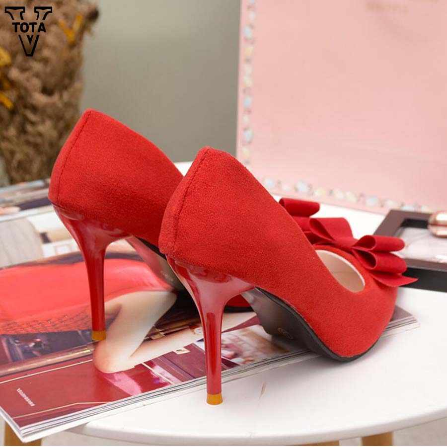 b705aa7d507 VTOTA 2018 Thin Heel High Heels Pumps Women Pointed Toe Butterfly-knot  ladies shoes Shallow Women Shoes Office Zapatos Mujer