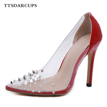 European early autumn transparent sexy riveted Roman style high heels Night Club Gladiator Pumps Plus Size Wedding shoes women