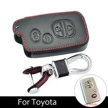 Genuine Leather Cover Case Smart Key Fob For Toyota Land Cruiser 5700 Prius 4 Buttons With Chain Ring