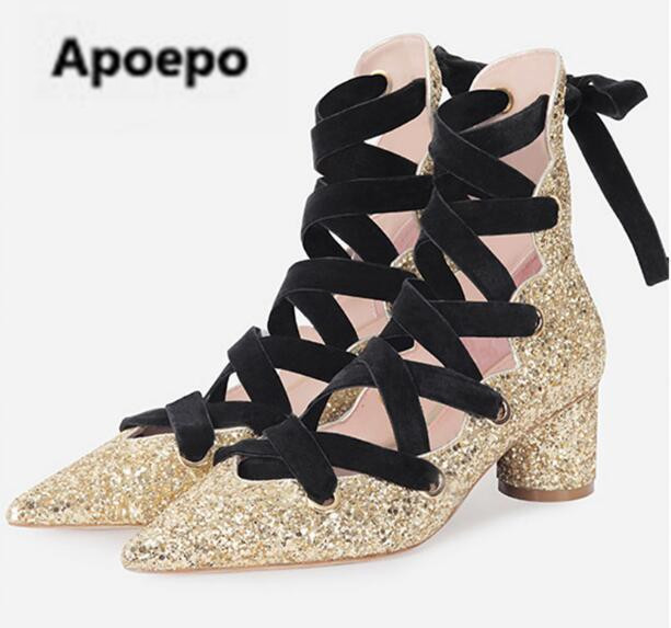Apoepo gold sliver ladies shoes sexy pointed toe pumps ankle strap lace up bling med heels mary janes shoes 2018 New Stage shoes new fashion thick heels woman shoes pointed toe shallow mouth ankle strap thick heels pumps velvet mary janes shoes