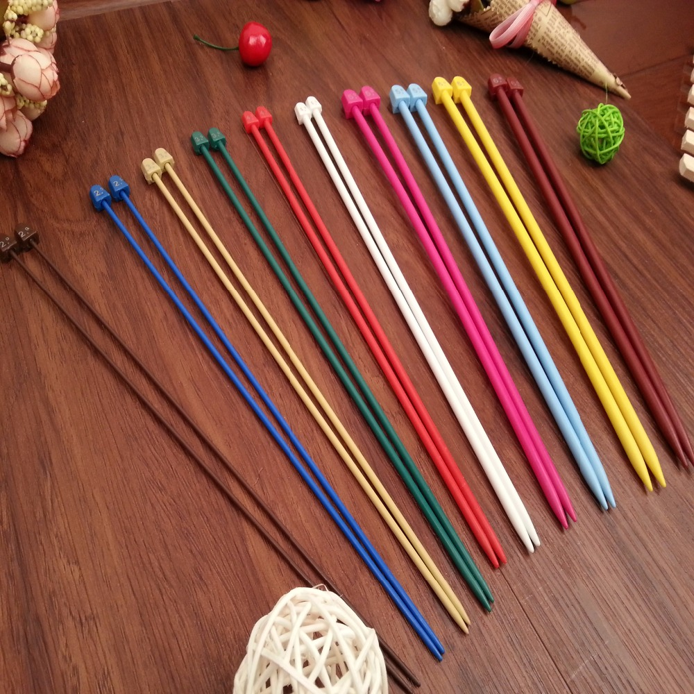 10PCS/set 25/35cm ABS&Inner Core:Steel Wire Stainless Single Pointed Knitting Needles Set Crochet Hook Tool Craft 2.0mm-6.5mm