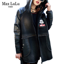 Max LuLu luxus márka koreai kapucnis téli Casacos Női farmer Bőrdzseki Thicken Meleg Női Faux Fur Coat Chaqueta Cuero