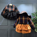 Kids Clothes Girls Autumn Winter Clothing Sets 2pcs long sleeves plaid sweater + layered dress Children Girls Clothes Party wear