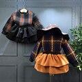 Roupa dos miúdos Meninas Outono Conjuntos de Roupas de Inverno 2 pcs plaid mangas compridas camisola + vestido em camadas Crianças Roupa Das Meninas Do Partido desgaste