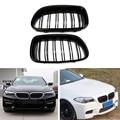 Neue 1 Paar Auto Auto Glanz Schwarz Niere Grill Racing Grille Dual Linie Für BMW F10 F11 F18 5 Serie m5 Hohe Qualität-in Front- & Kühlergrills aus Kraftfahrzeuge und Motorräder bei