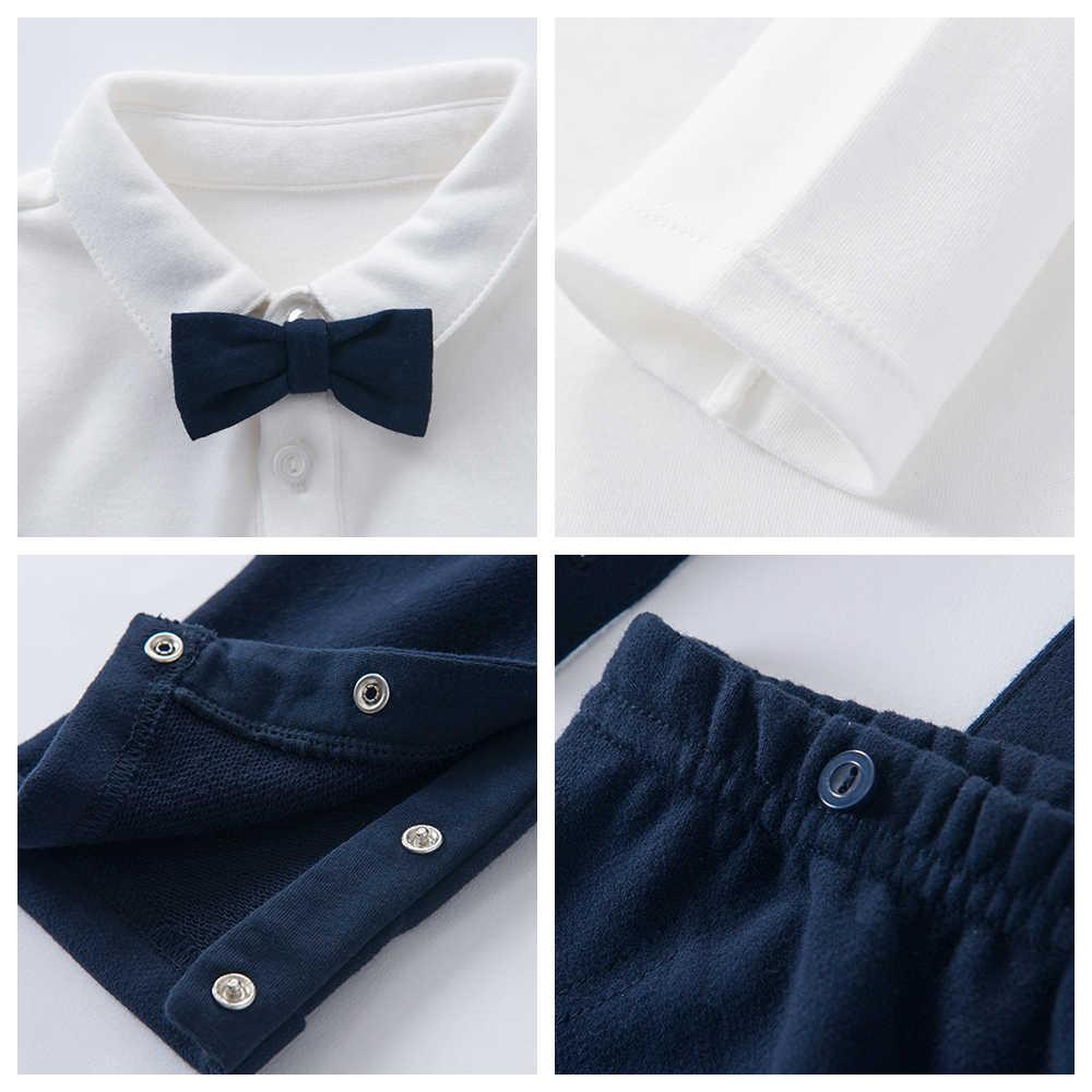 Bayi Laki-laki Pakaian Set Kasual Musim Semi Musim Gugur Lengan Panjang T-Shirt + Celana Bib Lembut Busur Sederhana Desain Boy Anak cocok untuk Bayi Suit 20