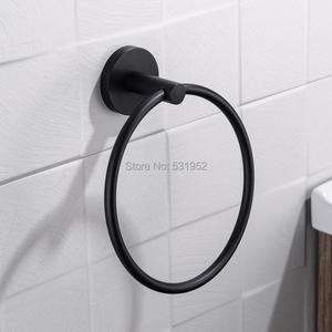 Free Shipping Black Towel Holder Towel Ring Round Wall Mounted Towel Rack Towel Shelf Stainless Steel Bathroom Accessories