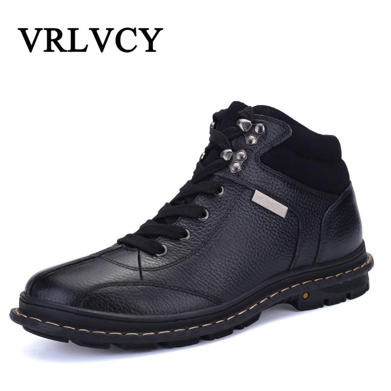Botas brown Boots Pele Black Preto Quentes Inverno Sapatos Tamanho Couro Ankle Homens De Qualidade Alta Moda Genuíno Grandes Com Do C6qHFw