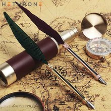 цена на Hethrone 1pcs English Calligrap Feather Pen Vintage Quill gift ink Pen Dip Water pen for calligraphy Metal Fountain Pen