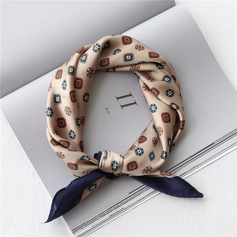 53-60CM Imitated Silk Square Scarfs For Women Retro Printed Small Hair Scarves For Ladies Neckerchief Satin Kerchief For Ladies
