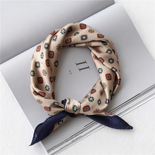 53-60CM Imitated silk square scarfs for women Retro printed small hair scarves ladies neckerchief satin kerchief