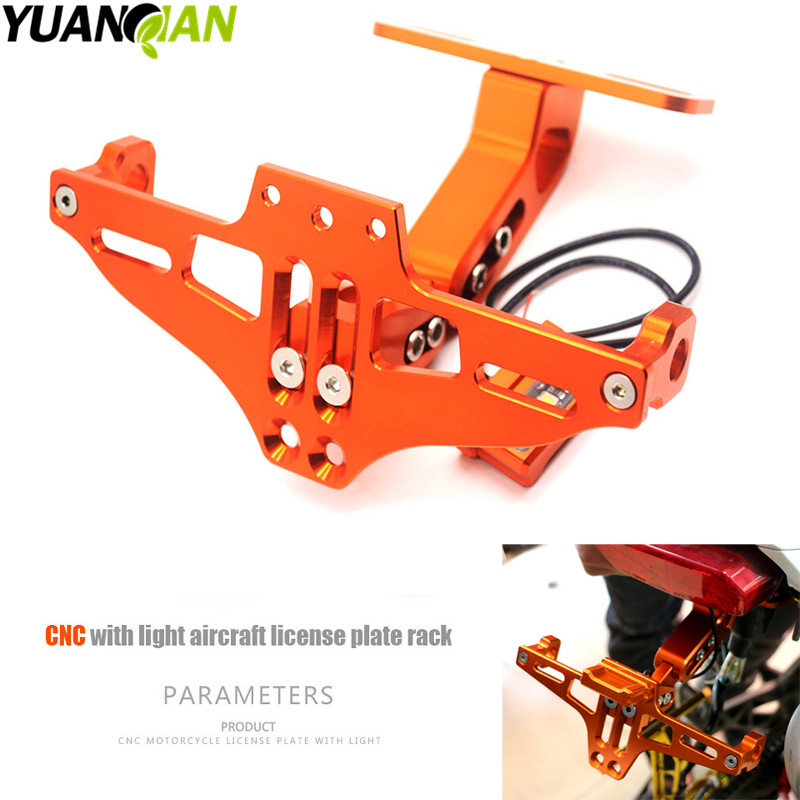 Motorcycle Adjustable Angle License Number Plate Frame Holder Bracket for KTM Yamaha Tmax 500 530 XJR 400 1300 KTM Duke 390 125 universal motorcycle adjustable angle aluminum license number plate frame holder bracket for ktm duke 200 390 sx f exc f 85 sx