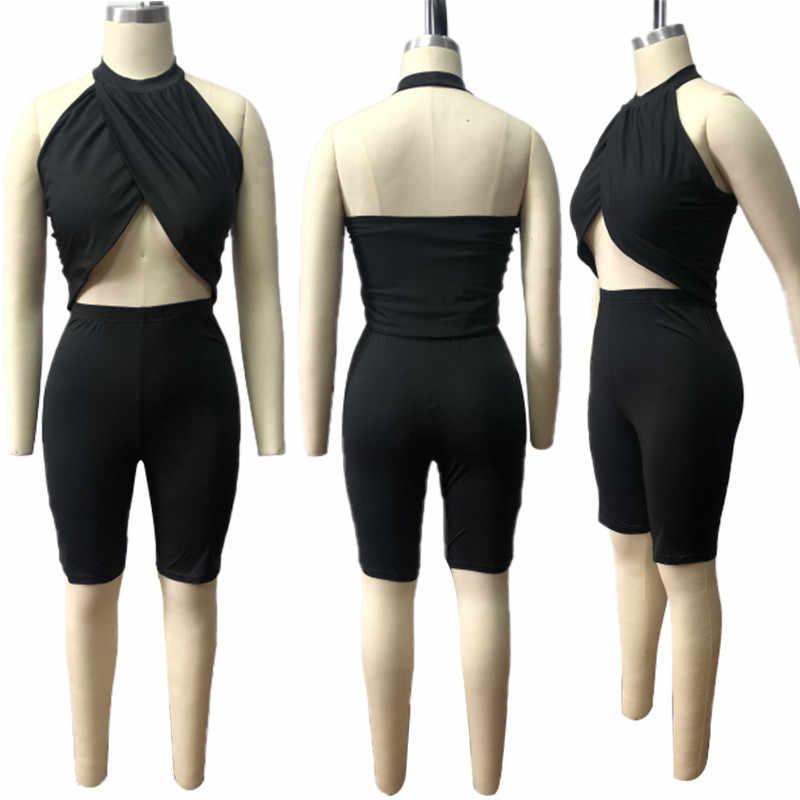 Пикантные черные комплекты из двух предметов женский топ без рукавов с бретелькой и шорты, комплект из 2 предметов для ночного клуба, комплект одежды Прямая доставка