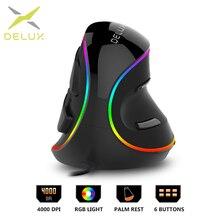 Delux M618Plus RGB Ergonomic Vertical Mouse 6 Buttons 4000 D