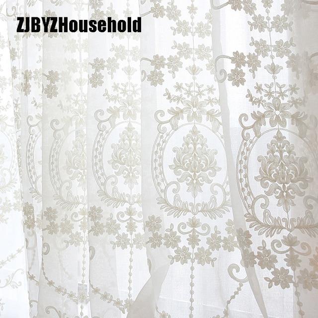 Cao cấp Màu Trắng Thêu Hoa Màn Hình Châu Âu Phong Cách Voile Tulle Sheer cho Phòng Ngủ Phòng Khách Cửa Sổ Rèm Cửa Rèm