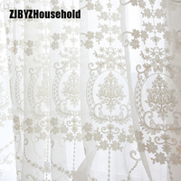 High Grade White Embroidery Flower Screens European Style Voile Tulle Sheer For Bedroom Living Room Windows Curtain Curtains