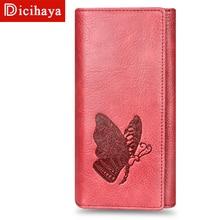 DICIHAYA, кожаный женский кошелек, тисненый узор с бабочками, Дамский клатч, сумка для денег, женский кошелек, сумка для телефона, кошельки, большая вместительность, 505915